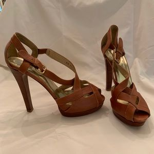 Cognac platform sandals buckle detail